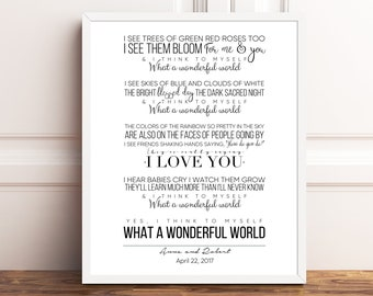 Wonderful world etsy louis armstrong what a wonderful world printable quote song lyrics nursery song lyrics stopboris Gallery