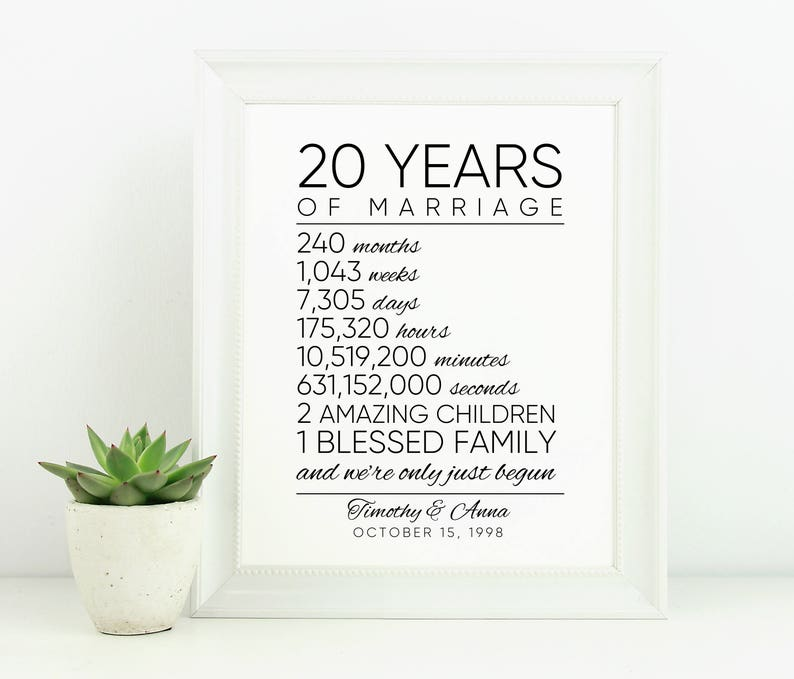 Couples Gift Ideas 20th Anniversary Family Dates 60th Birthday