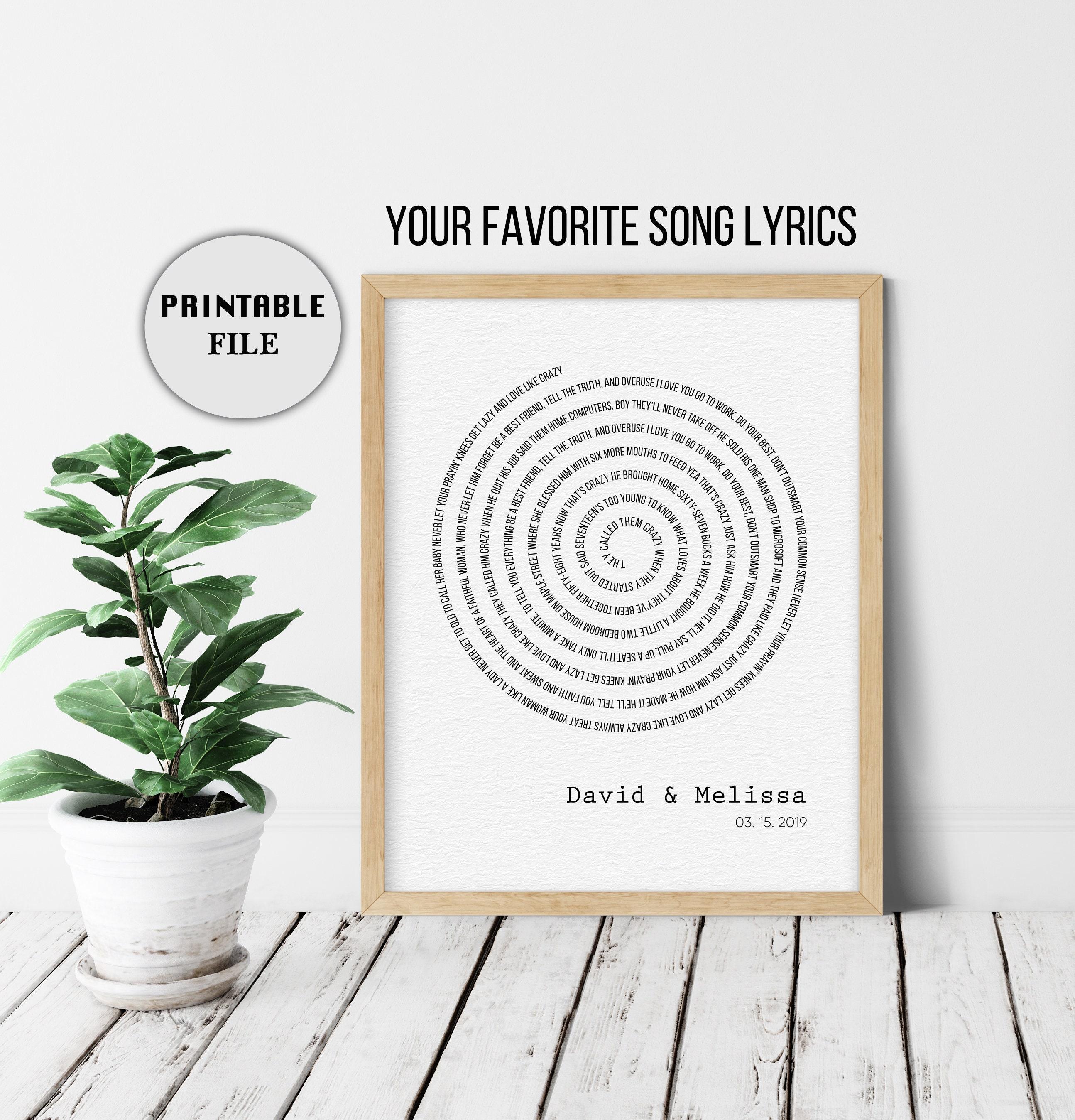 1st Anniversary Gift for Husband, Custom Spiral Song Lyrics, Paper  Anniversary Gift for Him, Lyric Wall Art, Any Song Lyrics, PRINTABLE
