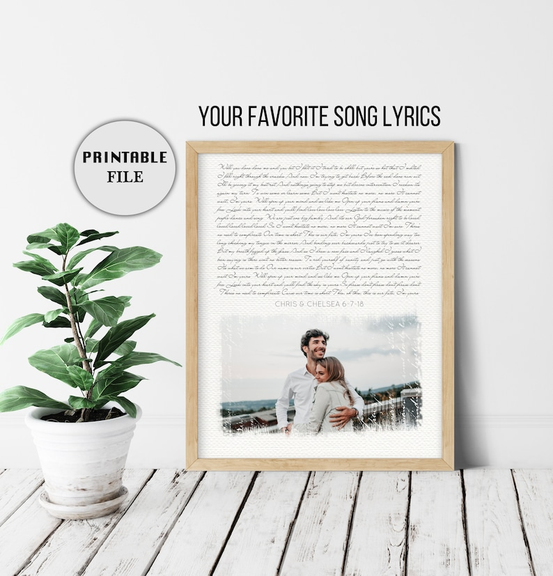 1 Year anniversary gift for her, Custom Song Lyrics 2nd Anniversary Gift  for Her, Wedding Song Art, 4th Anniversary Gift for Wife, PRINTABLE