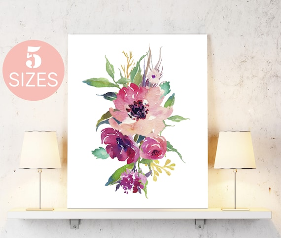 watercolor flowers print watercolor print floral print etsy
