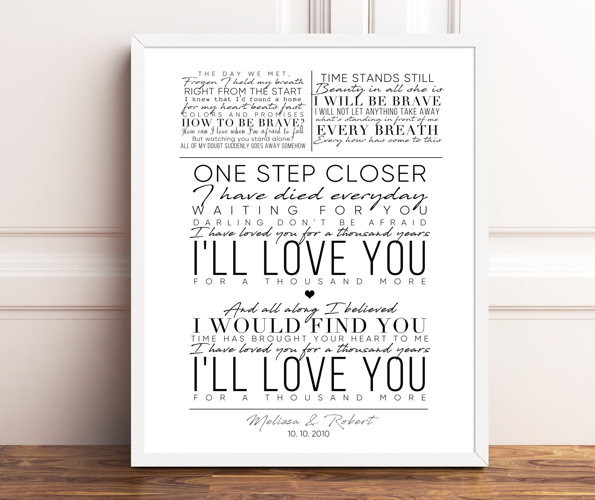 Christina Perri A Thousand Years Song Lyrics Gift For Her Etsy