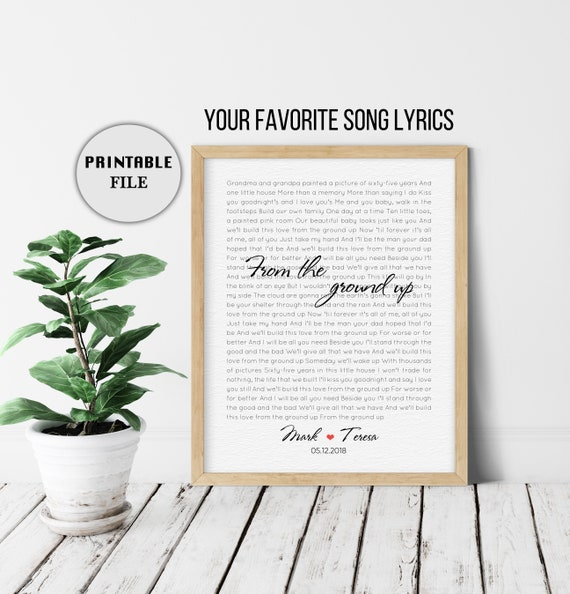 Wedding Song Lyric Art First Anniversary Gift For Him Song Lyric Art Personalized Lyrics 1st Anniversary Gift Song Lyrics Gift Printable