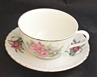 Bone China Cup and Saucer with Pink Flowers