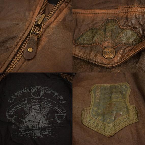 vintage EAGLE Force Cowhide Leather Bomber Jacket mens size L Brown Flight Pilot Aviator Style Man Men