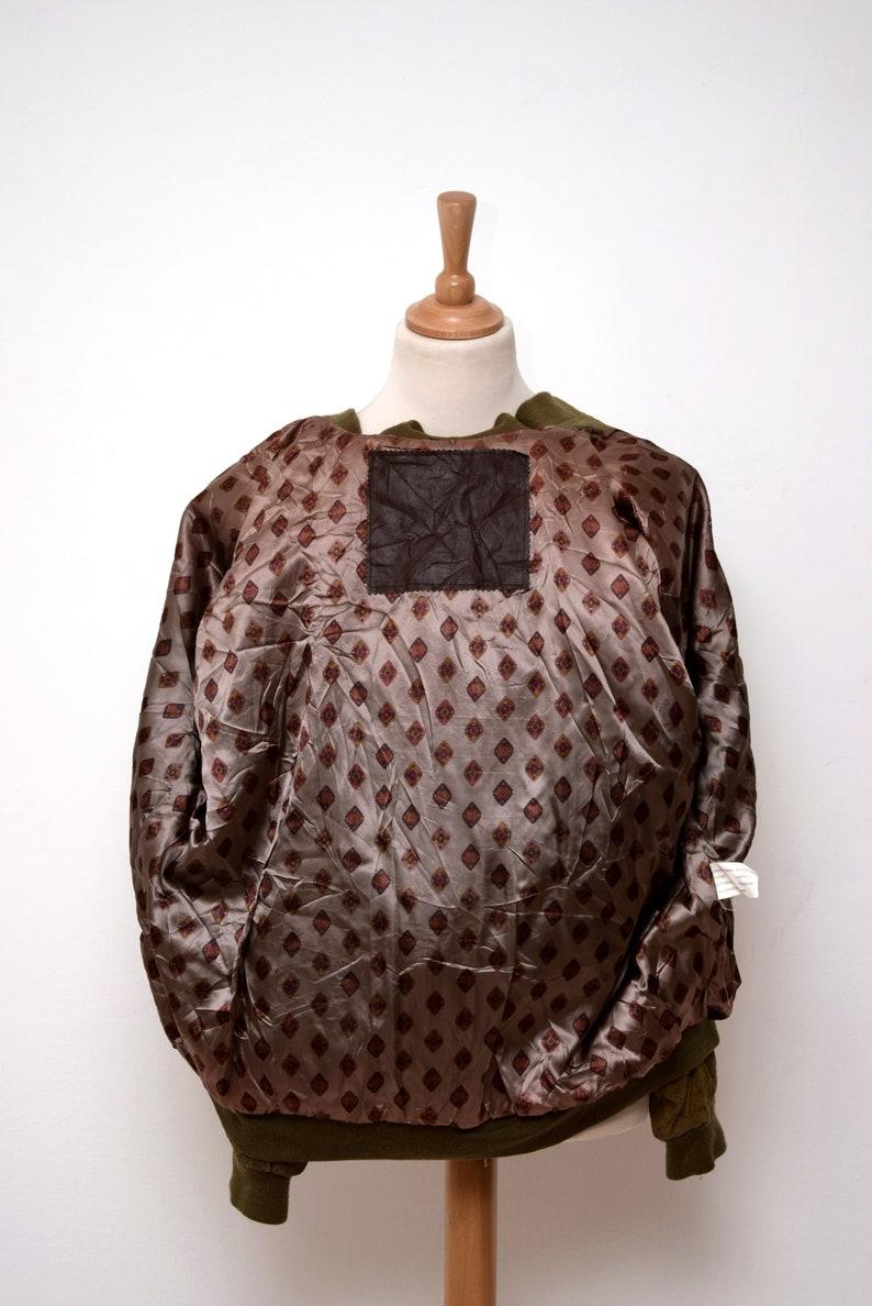 S Oliver Leather Bomber Jacket mens size XXL Green Car Racer Style Man Men