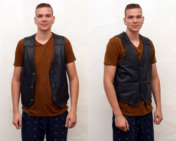 vintage 90s Levis Leather Waistcoat mens size S -