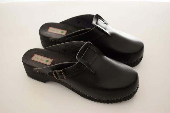 Csa La Sweden Leather Clogs Mens Size Uk 9 Eur 43 Wood Man Shoes Men Black Buckle Strap Monk Top
