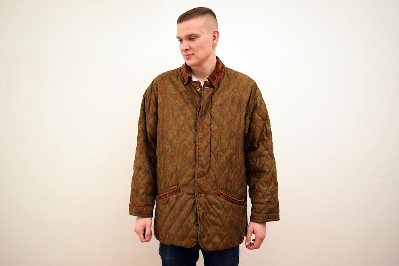 vintage Quilted Hunting Jacket mens Size XL  UK 44  EUR 54 Green Coat Man Jacket Men 90s