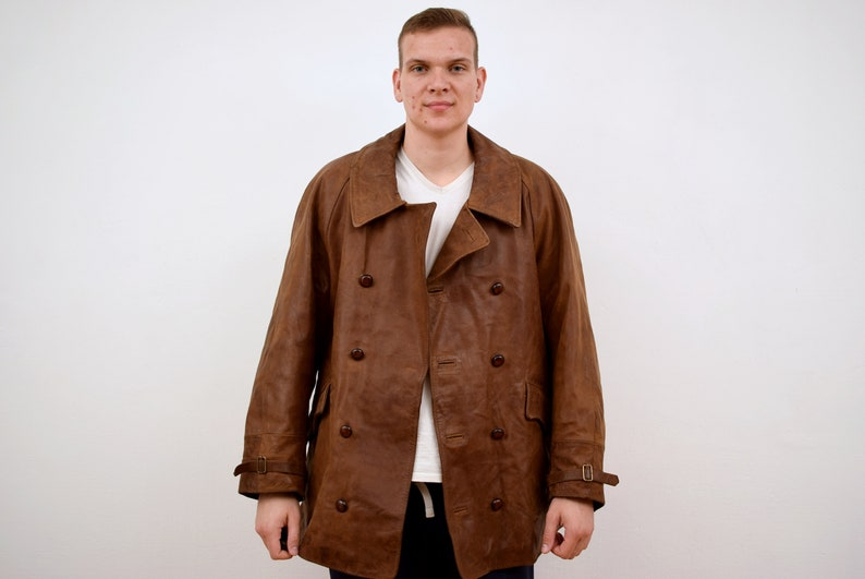 EUR 50 Double Breasted Coat Man Jacke Men Leather Brown Italian UK 40 vintage Hilton Goat Skin Jacket mens Size M
