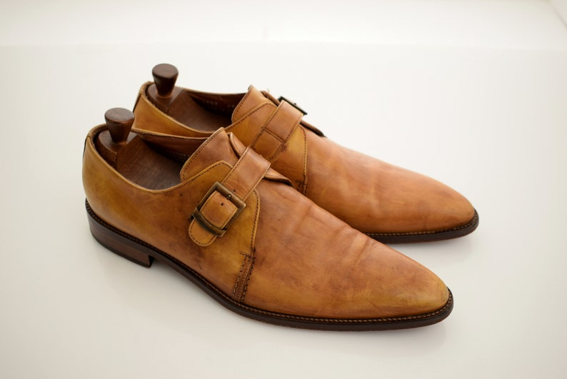 0f7e9a8e92139 vintage Calzoleria Toscana Loafers Full Leather mens size UK 10,5 EUR 45  Faded Brown Shoes Italy Single Monk Strap Man Men