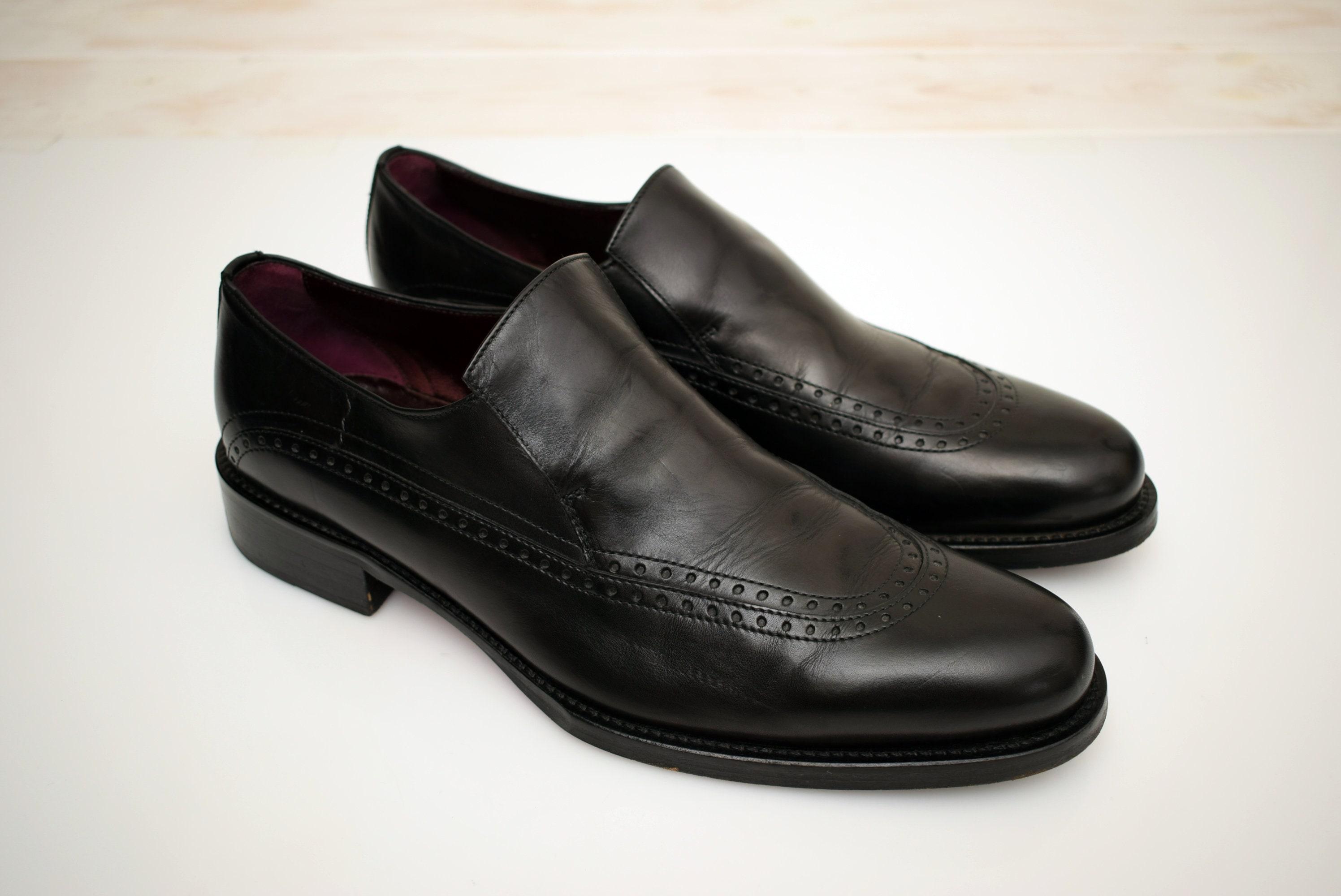 de176d9c062d5 Hugo Boss Loafers mens size UK 10,5 EUR 45 Leather Brogue Black Man Shoes  Men Elegant Pointed Toe Style Shoes
