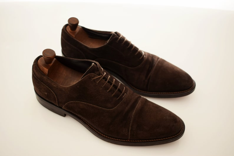 vintage Don Gil Suede mens size EUR 43 UK 9 Man Oxford Full Leather Men Shoe Brown Italian Pointed Toe Italy Shoes