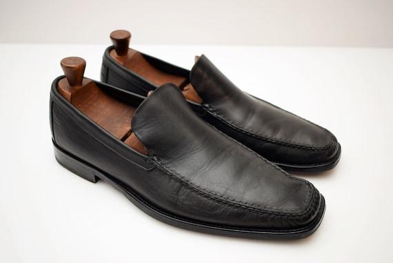 2418bd8ade592 vintage Hugo Boss Loafers Leather mens size UK 6 EUR 39 Womens Unisex Man  Shoes Men Elegant Pointed Toe Italian Shoes black