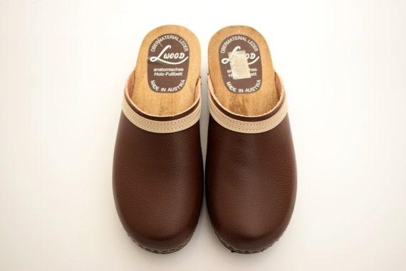 Vintage Lwood Clogs Mens Size Uk 8 Eur 42 Man Anatomisches Shoes Men Wood Clogs Brown Austria Holz Fussbett