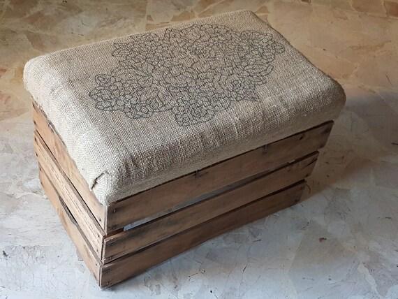 Pouf vintage legno e juta riciclo creativo sgabello e cuscino etsy