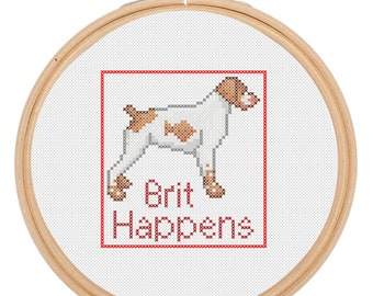 Brit Happens Dog Brittany Spaniel Canine Cross Stitch Pattern