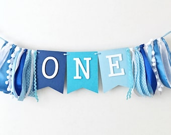 Blue Boy One High Chair Banner 1st Birthday Ombre Party Decorations Highchair Sign I Am