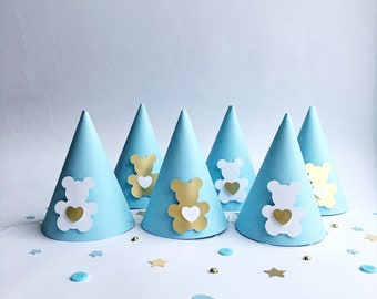 Teddy Bear Party Hats Baby Boy 1st Birthday Hat Shower Decorations Kids One Year Set Of 6