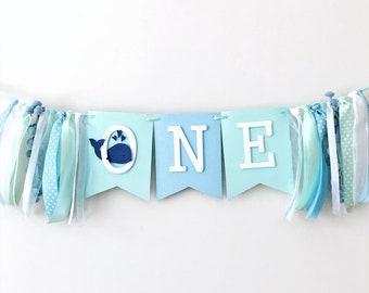 Whale One High Chair Banner Nautical Theme Boy 1st Birthday Decorations Ocean First I Am Blue Aqua Highchair Sign