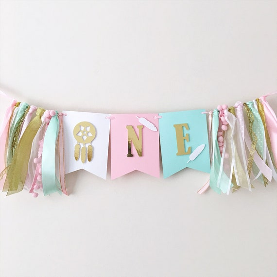 Boho High Chair Banner Wild One Girl 1st Birthday Decorations Dreamcatcher  Tribal Party One Girl Highchair Sign Coral Pink Mint Banner