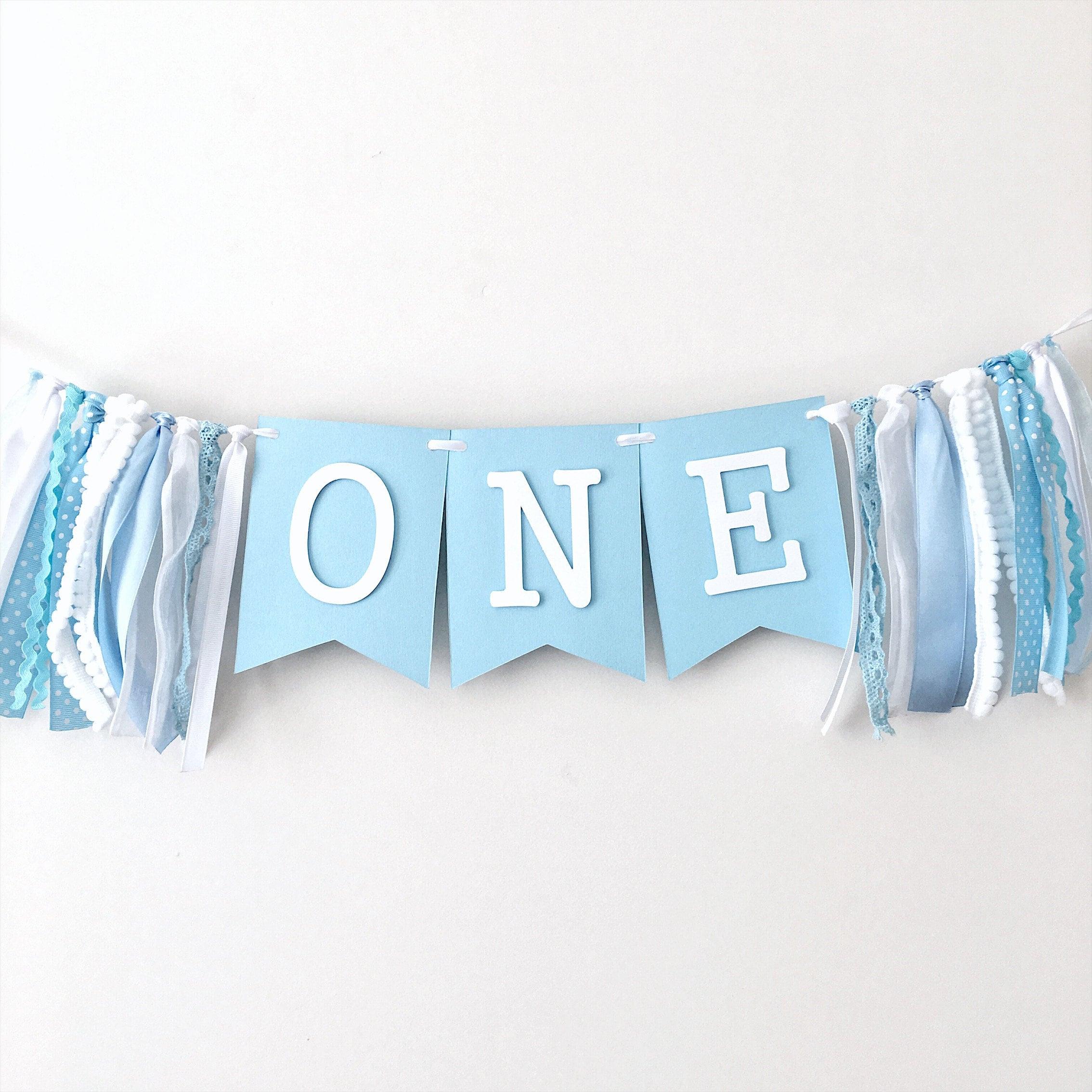 turquoise Star ONE high chair banner Blue grey teal Boy Banner Boy Birthday Prince Birthday Little man mustache