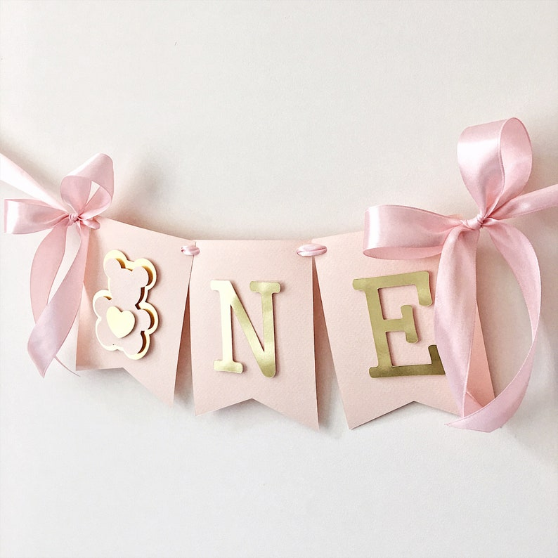 Girl One High Chair Banner Teddy Bear Girl 1 St Birthday Banner One High  Chair Sign Blush Rose Gold Decorations One Year Birthday