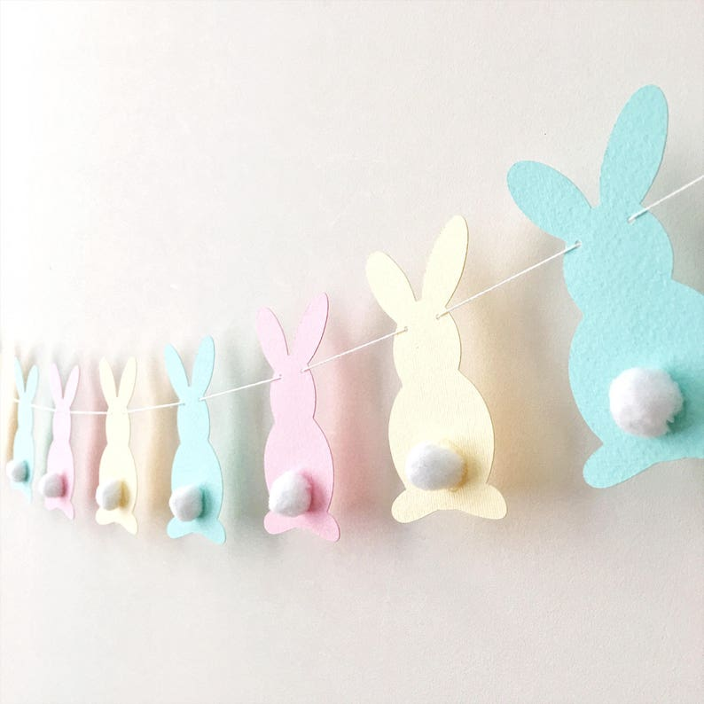 Pastel Bunny Easter Garland Rabbit Garland Bunny Baby Shower image 0