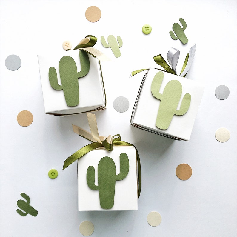 Cactus Favor Boxes Cactus Theme Boy Baby Shower Gift Favor Boxes Fiesta Birthday Decoration Cactus Wedding Bridal Shower Candy Box Set of 12