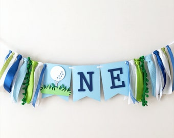 Golf One Highchair Banner Golf 1st Birthday Party Decorations Hole In One
