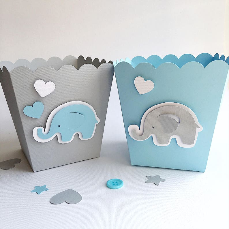 Blue Gray Elephant Favor Boxes Boy Baby Shower Decorations Etsy