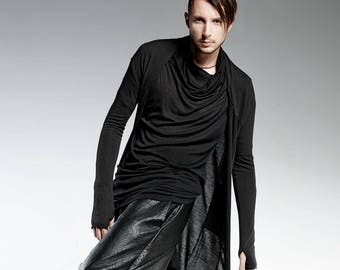 Black Tunic Top Mens Tunic For Men Long Black Shirt Modern Etsy