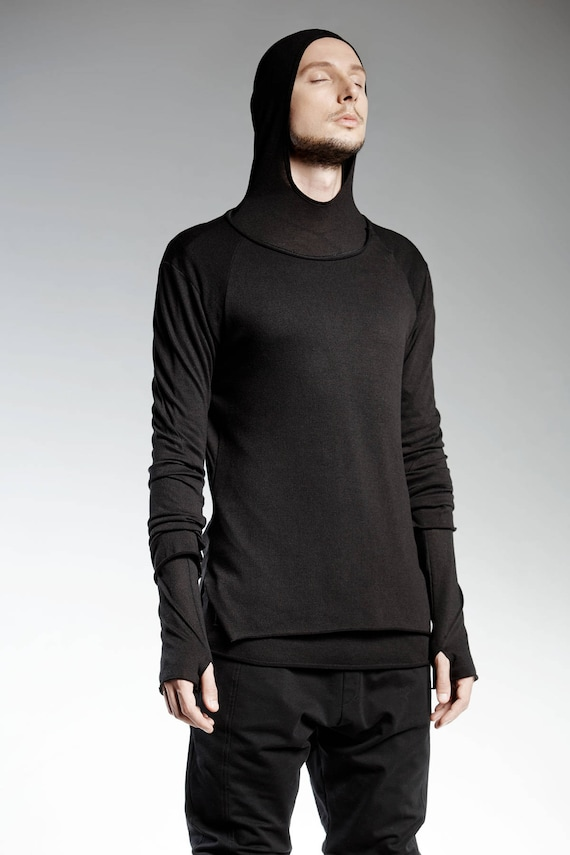 mens black slim top futuristic clothing extravagant top  etsy