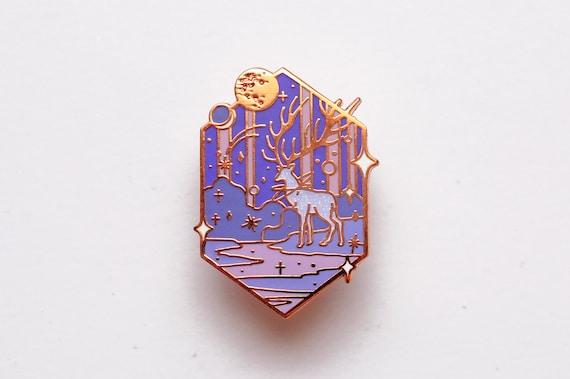 Enamel Pin Mythical  animal Deer Navy Hard Enamel Deer Lapel pin Woodland
