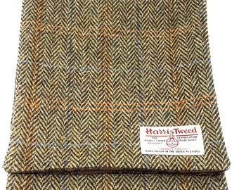 Ladies or Gents Brown Herringbone Harris Tweed Paisley Fabric Lined Scarf