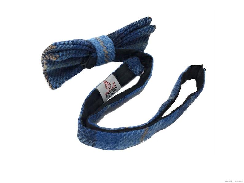 Harris Tweed Bow Tie Pre-Tied in Blue Tartan