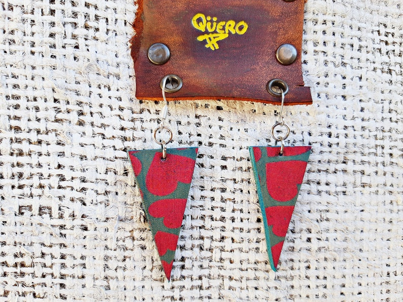 Original pop gift for her Leather earrings with pink hearts Rustic leather earrings Light earrings with colours