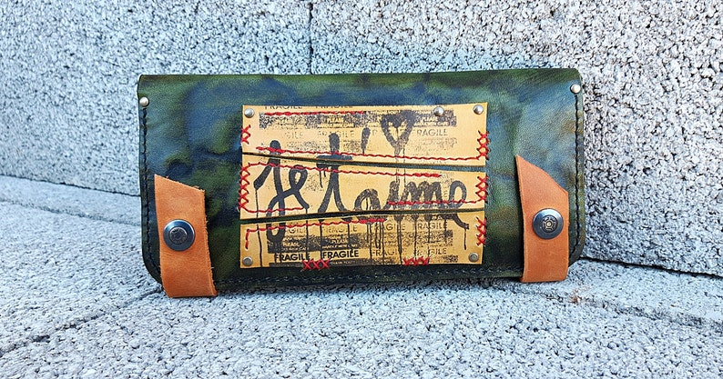 09639a2d1 Monedero verde de cuero para mujer cartera de cuero   Etsy