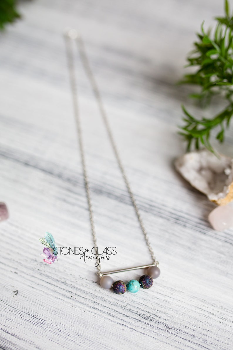 Gemstone /& Lava Bead Necklace ~ Smoky Quartz Lava Turquoise ~ 20 Diffuser Necklace ~ Essential Oil Necklace for Calm and Self-Realization