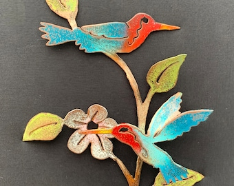 Two Hummingbirds and a Flower [MA-049]