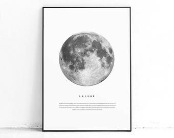 La Lune Printable Print Luna Poster Wall Art Lunar Full Moon Printables