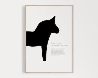 Printable Dala Horse, Dala Horse Print, Dala Horse Printable, Modern Minimalist, Scandinavian Poster, Minimalist, Black And White