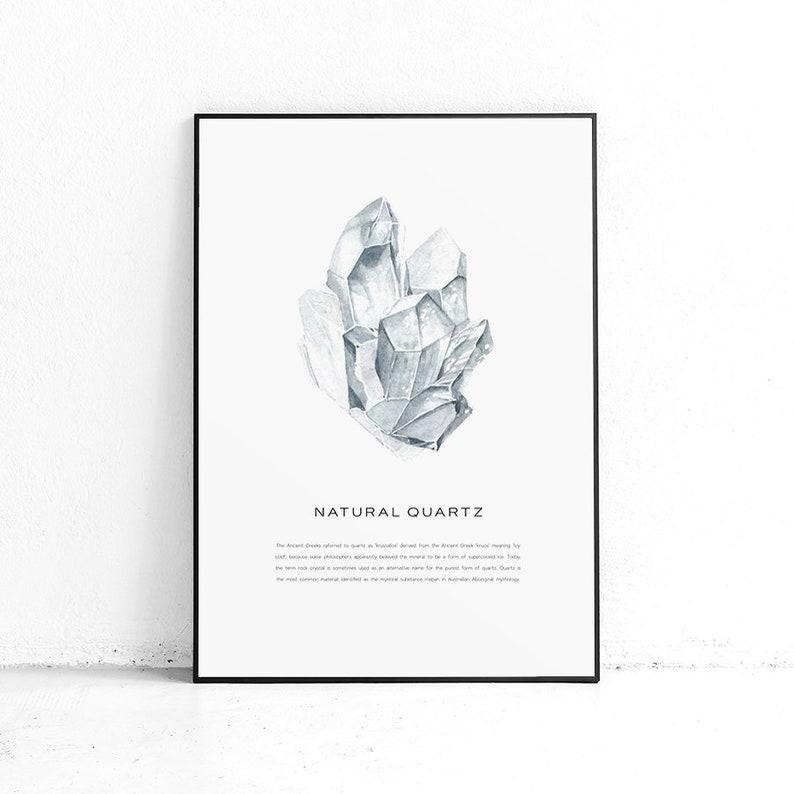 Printble Clear Quartz Crystal Gem Poster, Crystal Poster, Art Print  Crystal, Geode Art Prints, Healing Crystals, Watercolor Crystals