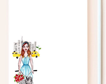 Girl in the City - Personalized Option Available, Customizable Notepad, Chic Notepad