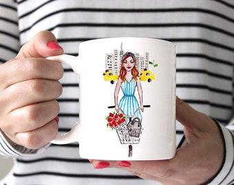 Girl in the City - Ceramic mug, Coffee mug, tea mug, coffee cup, fashion mug, girly mug, preppy mug
