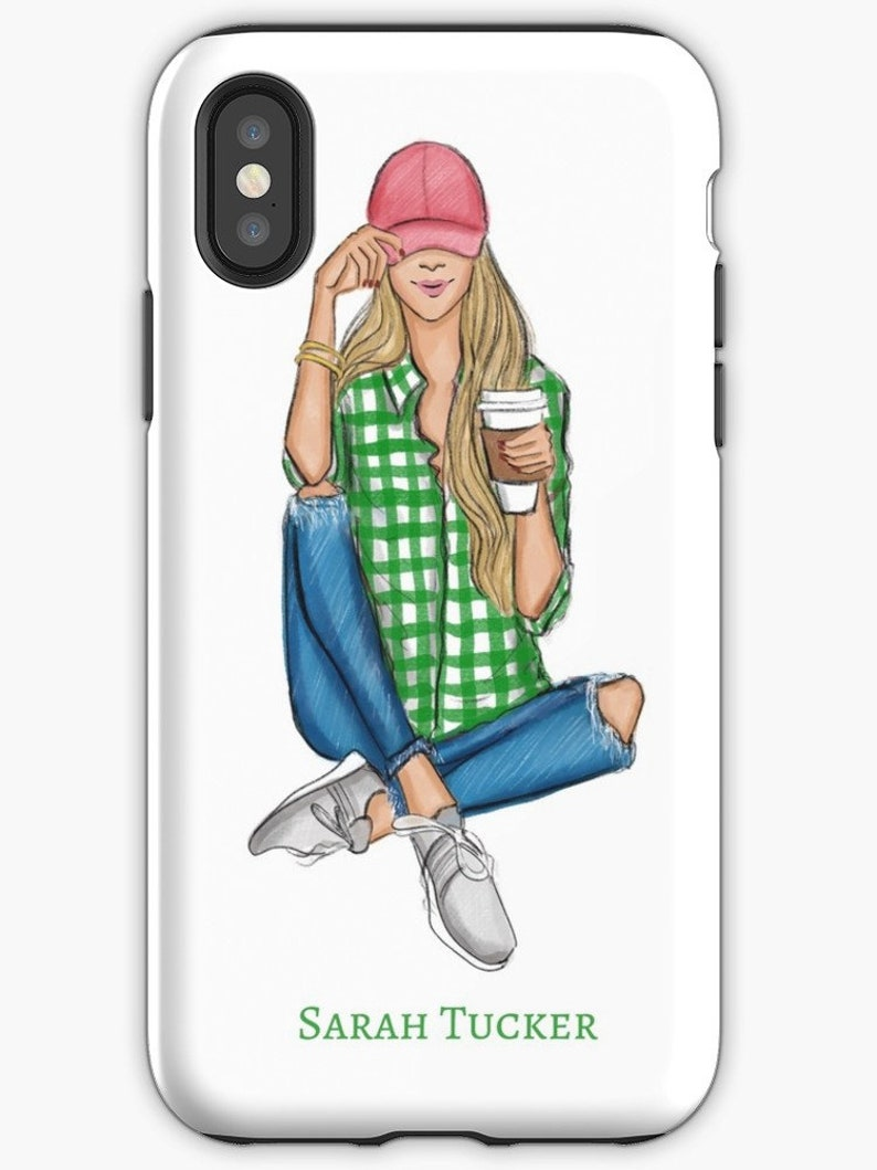 Customizable Phone Case monogrammed iPhone Case, Preppy Girl Custom iPhone Case iPhone Case Hair Color Options