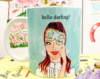 Holly Golightly - ceramic mug, coffee mug, custom mug, personalised mug, fashion mug, office mug, gift for her, girl boss mug, preppy mug