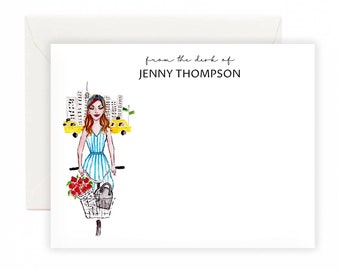 Custom Fashion Notecards - Girl in the City, Stationery Set, Notecards, personalised notecards