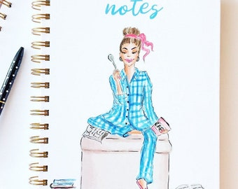 Gold Spiral Notebook: Pyjamas Girl, Personalization Options Available