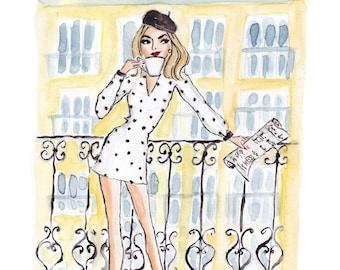 Waking up in Paris - Fashion Illustration Art Print